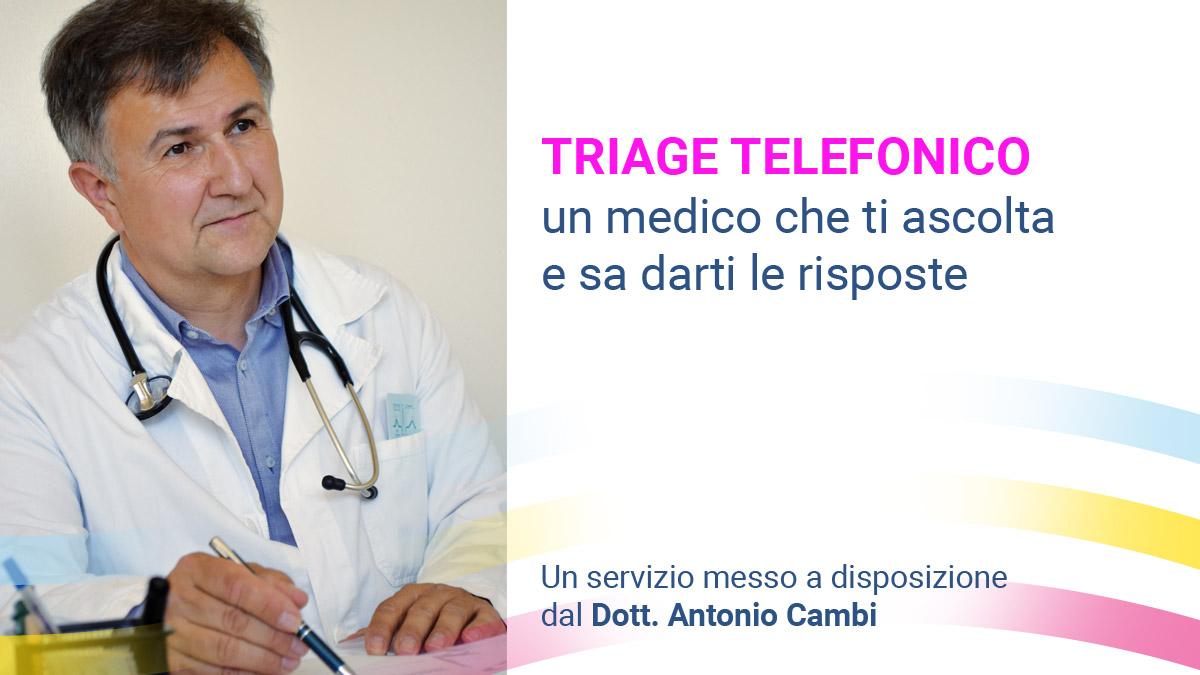 il dott antonio cambi offre un servizio di triage telefonico per il coronavirus